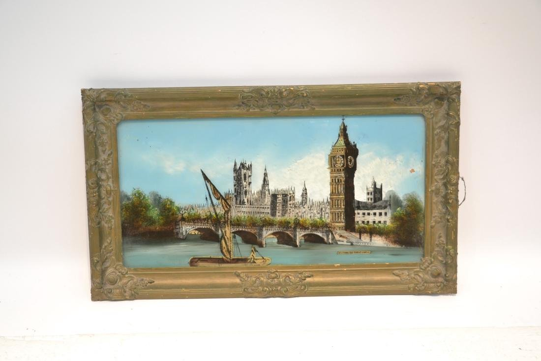 """REVERSE PAINTING ON GLASS OF """"WESTMINSTER BRIDGE"""" - 7"""