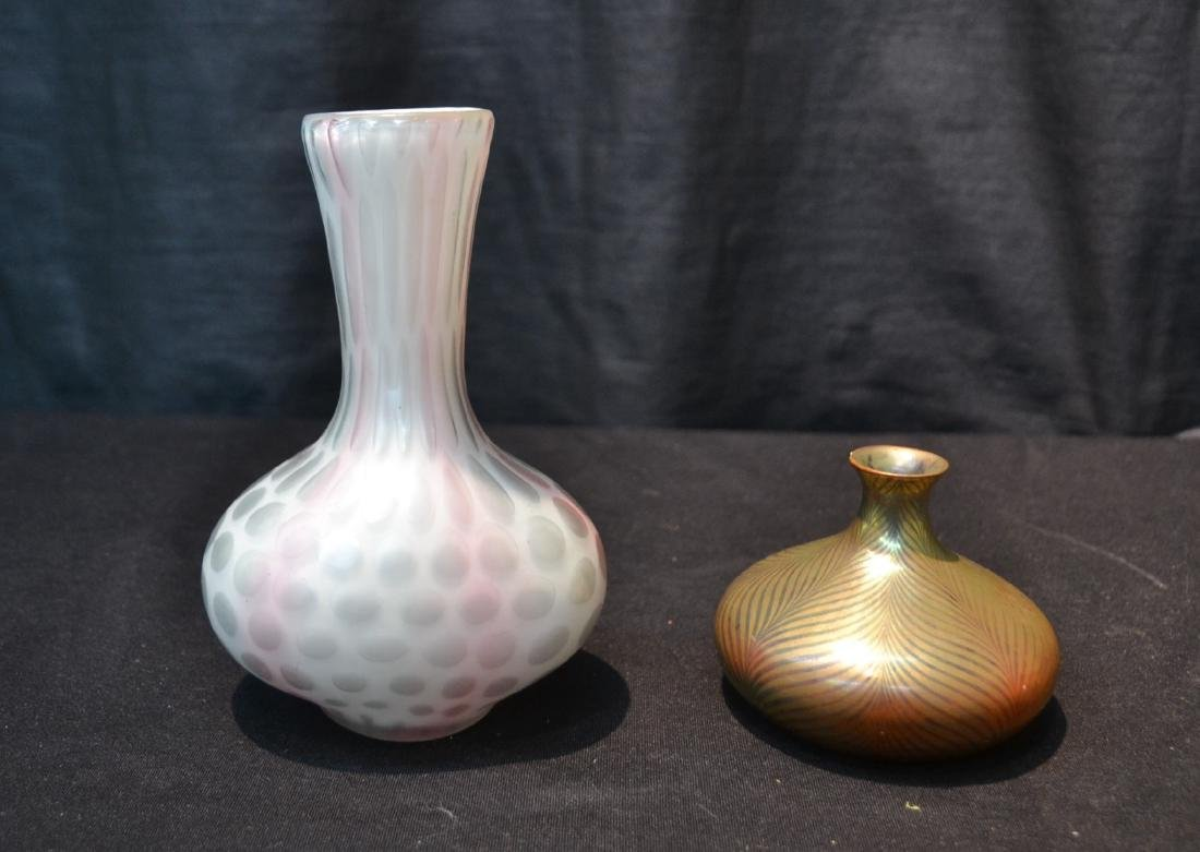 ART GLASS VASE & SZOLNAY VASE (HAS FLAKE)