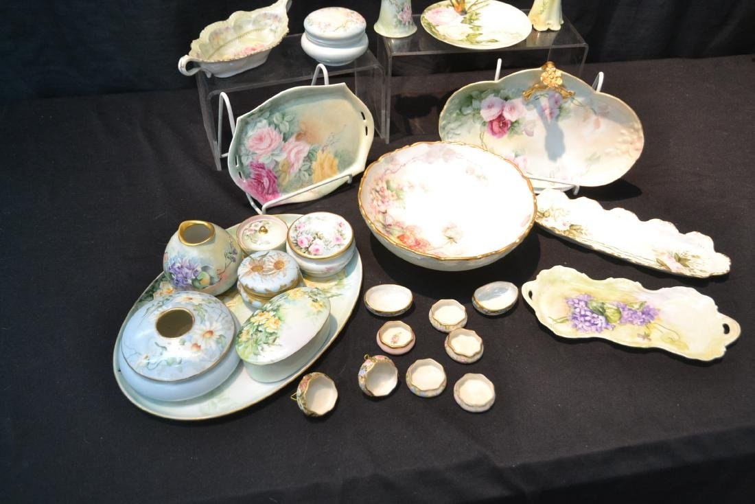 (21)pc LOT OF HAND PAINTED PORCELAIN DISHES & - 10