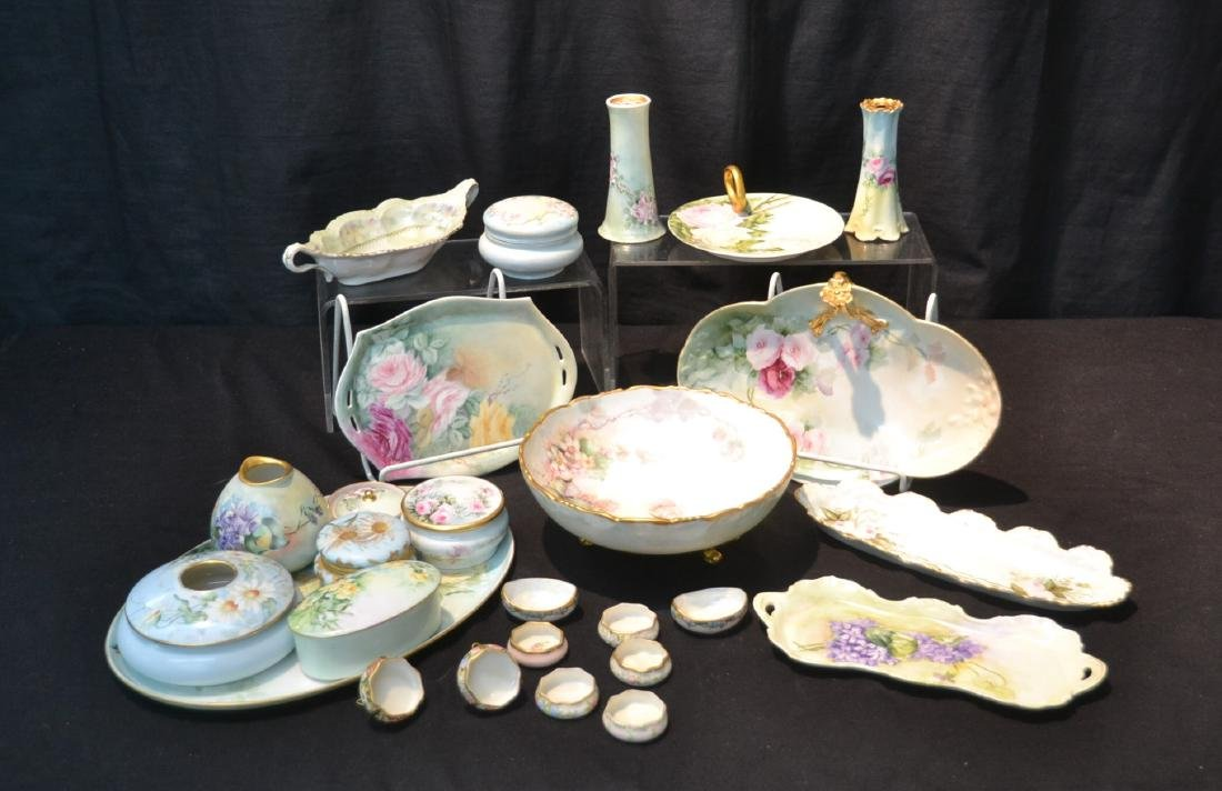 (21)pc LOT OF HAND PAINTED PORCELAIN DISHES &
