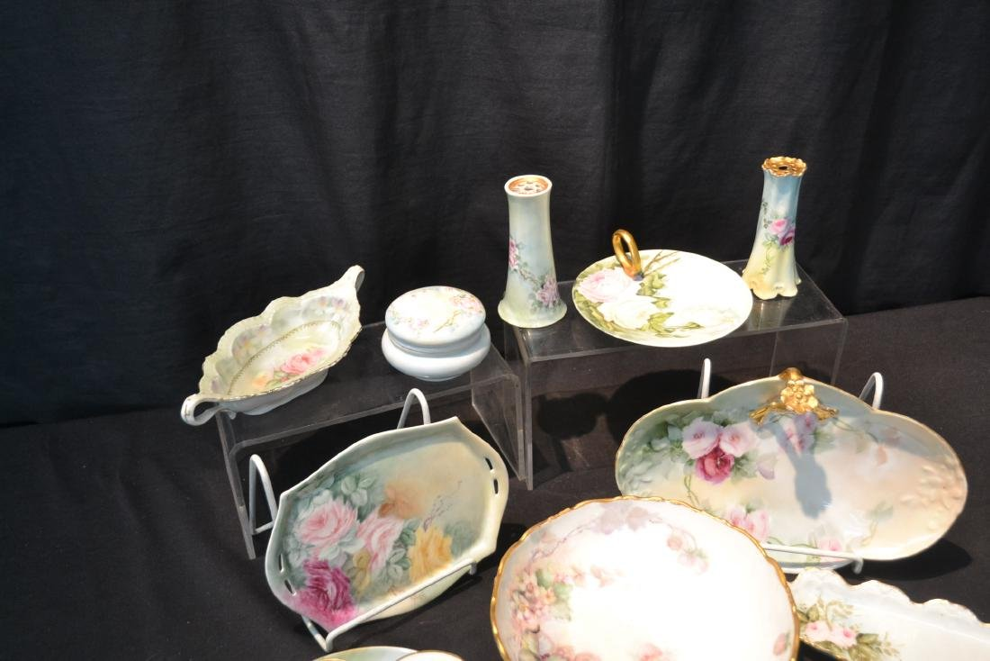 (21)pc LOT OF HAND PAINTED PORCELAIN DISHES & - 4