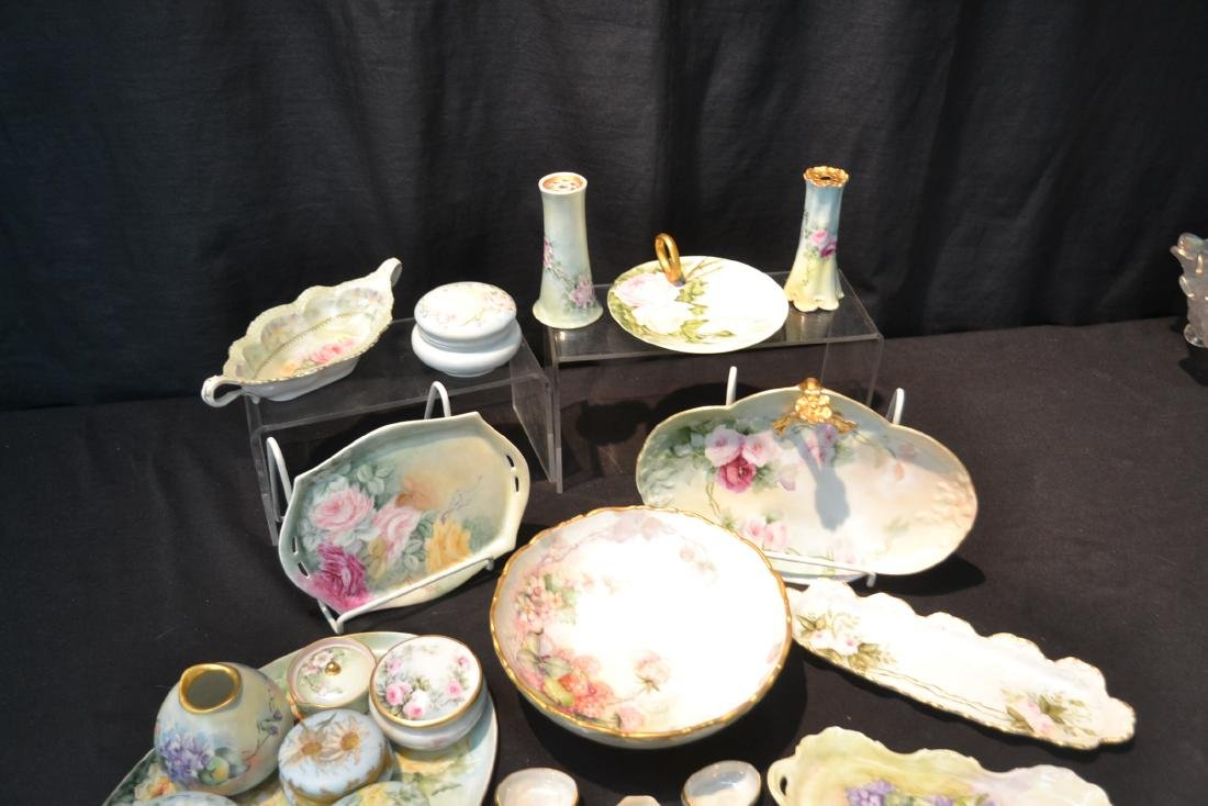 (21)pc LOT OF HAND PAINTED PORCELAIN DISHES & - 6