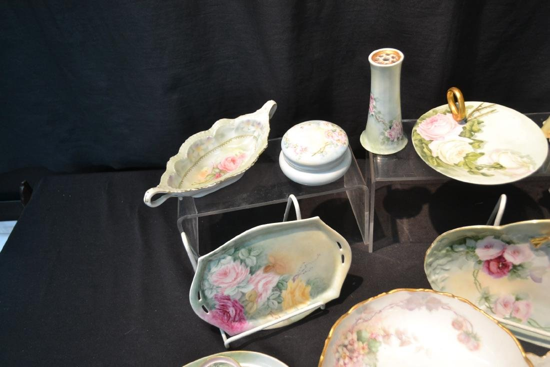 (21)pc LOT OF HAND PAINTED PORCELAIN DISHES & - 8