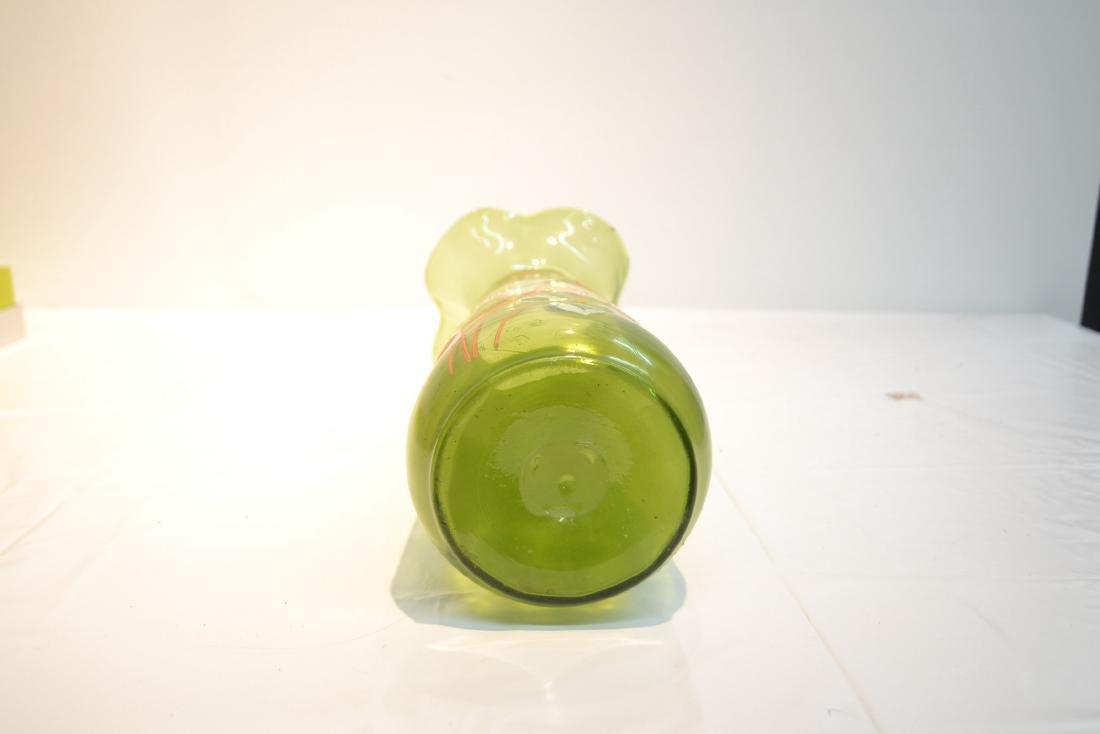 VICTORIAN GREEN GLASS RUFFLED VASE - 6