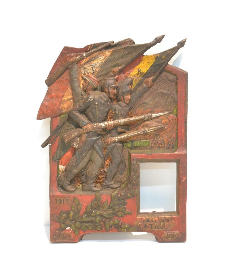 COLD PAINTED IRON RELEIF PLAQUE OF FRENCH SOLDIERS
