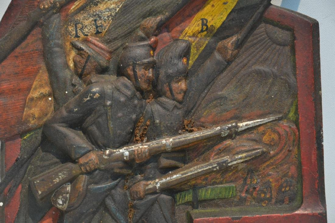 COLD PAINTED IRON RELEIF PLAQUE OF FRENCH SOLDIERS - 4