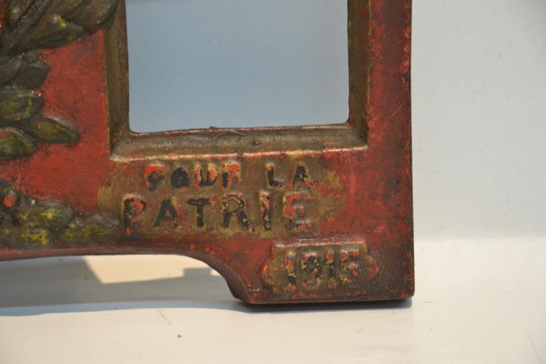 COLD PAINTED IRON RELEIF PLAQUE OF FRENCH SOLDIERS - 6