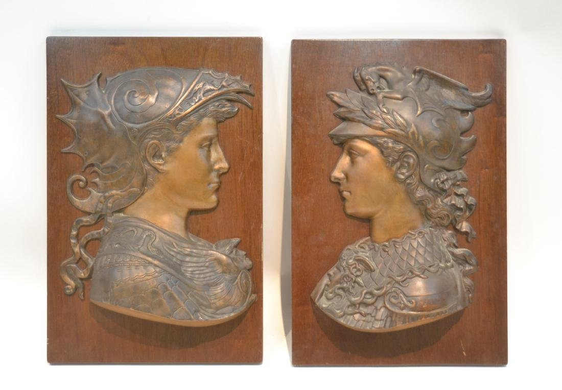 (Pr) BRONZE ROMAN BUSTS MOUNTED ON WOOD