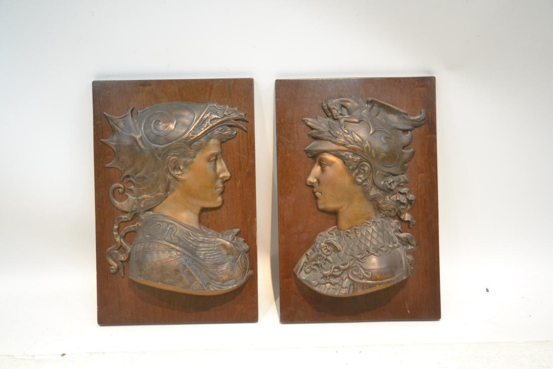 (Pr) BRONZE ROMAN BUSTS MOUNTED ON WOOD - 2