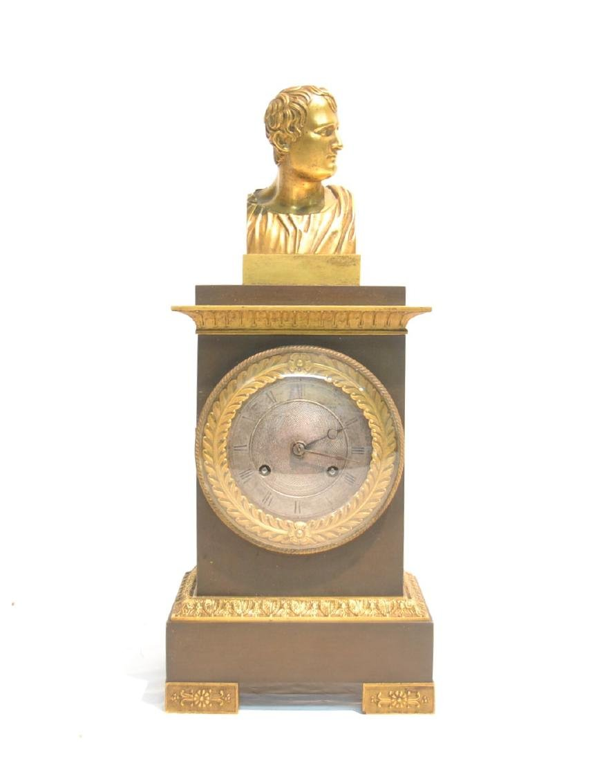 2-TONE BRONZE FRENCH EMPIRE CLOCK WITH