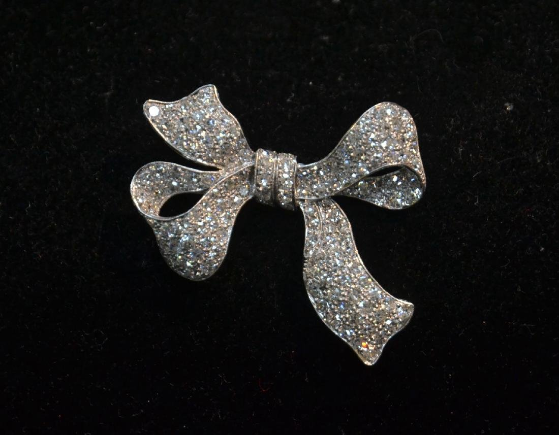 18kt WHITE GOLD APPROX. 3ctw DIAMOND BOW PIN