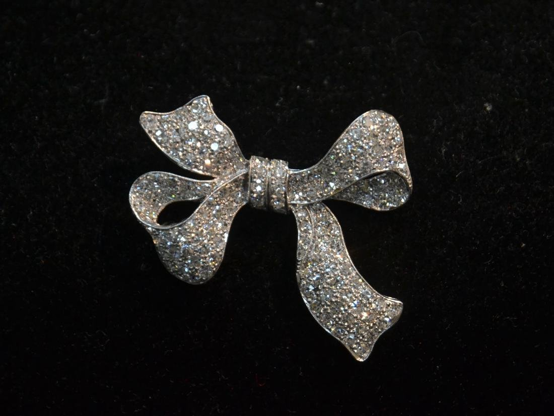 18kt WHITE GOLD APPROX. 3ctw DIAMOND BOW PIN - 2