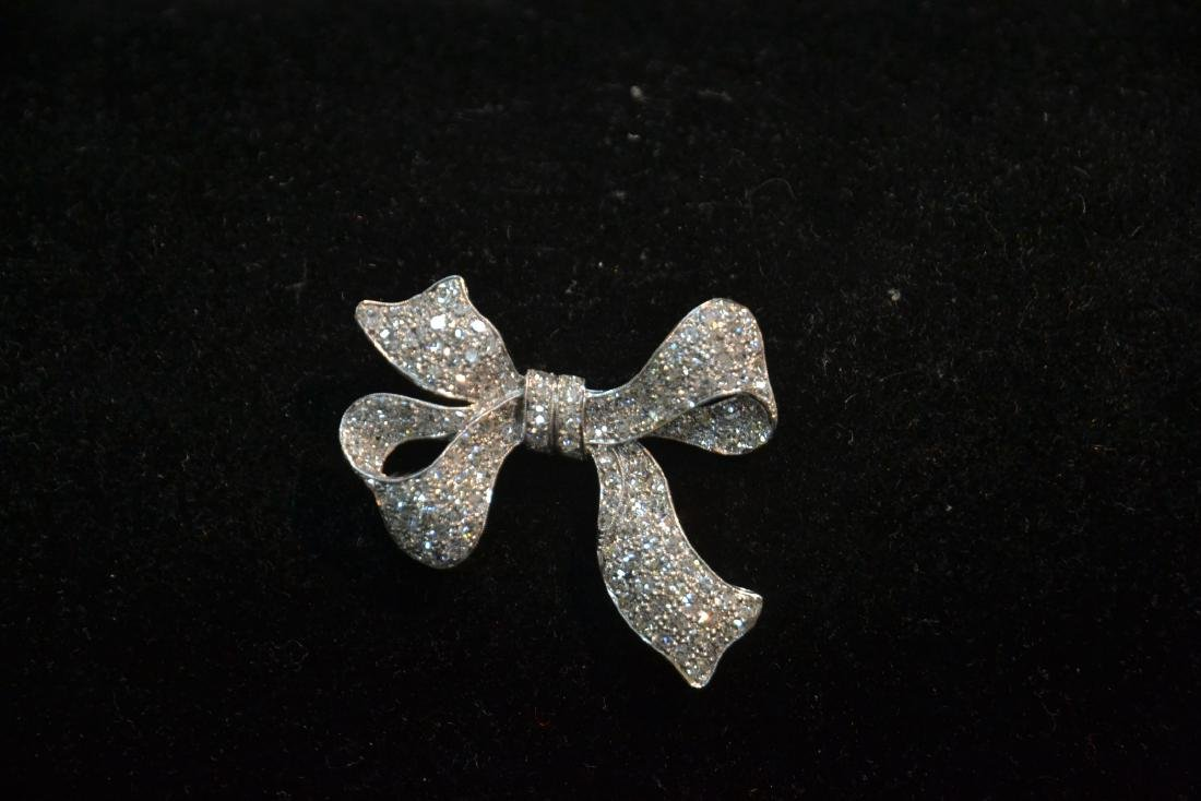18kt WHITE GOLD APPROX. 3ctw DIAMOND BOW PIN - 3