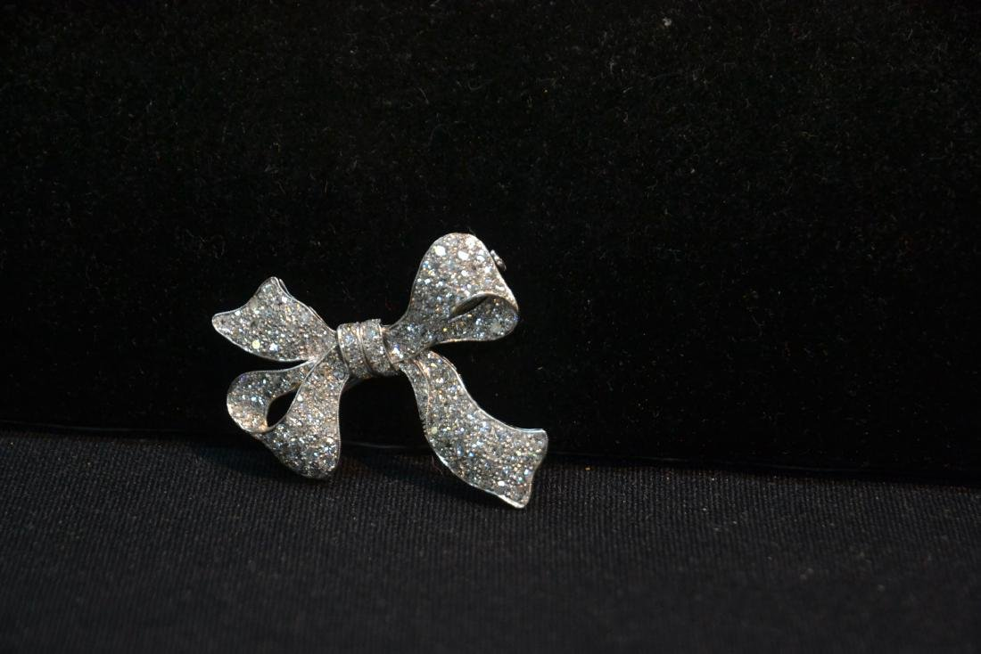 18kt WHITE GOLD APPROX. 3ctw DIAMOND BOW PIN - 4