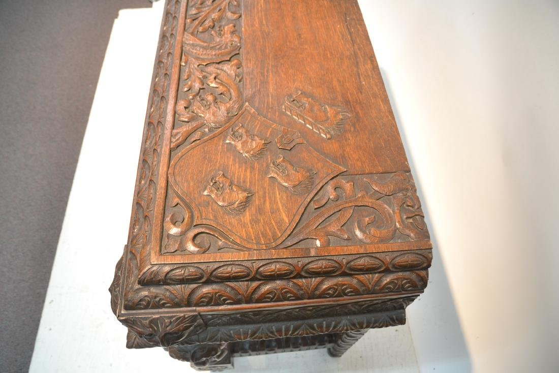 19thC HEAVILY CARVED OAK CONSOLE WITH CARVED - 10
