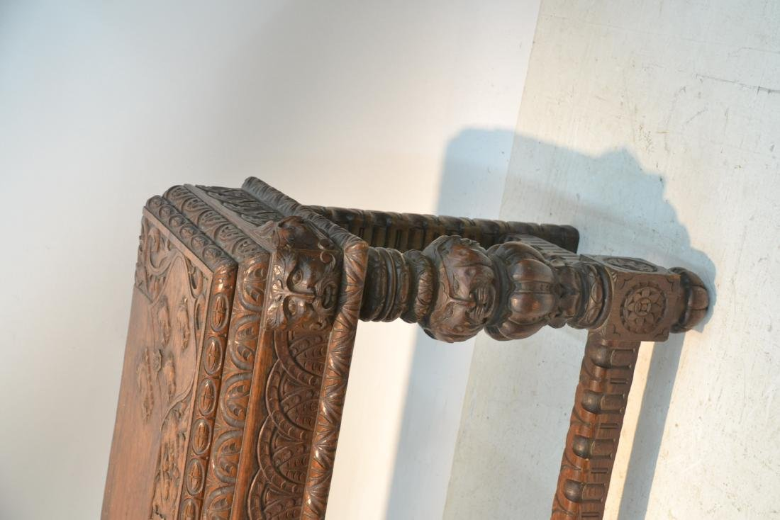 19thC HEAVILY CARVED OAK CONSOLE WITH CARVED - 2
