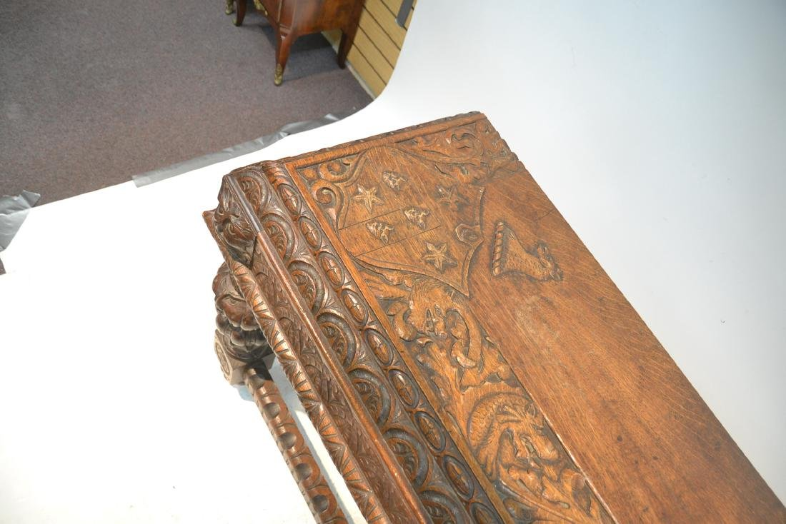 19thC HEAVILY CARVED OAK CONSOLE WITH CARVED - 4
