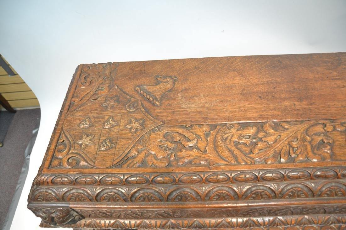 19thC HEAVILY CARVED OAK CONSOLE WITH CARVED - 5