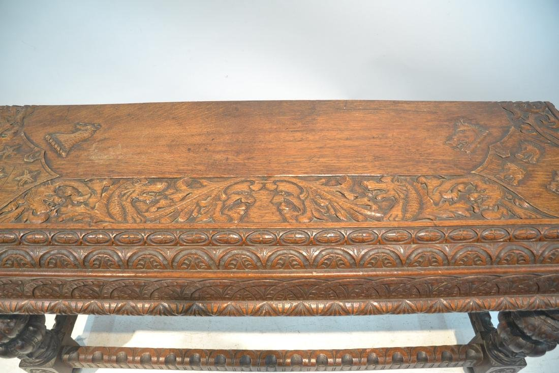 19thC HEAVILY CARVED OAK CONSOLE WITH CARVED - 6