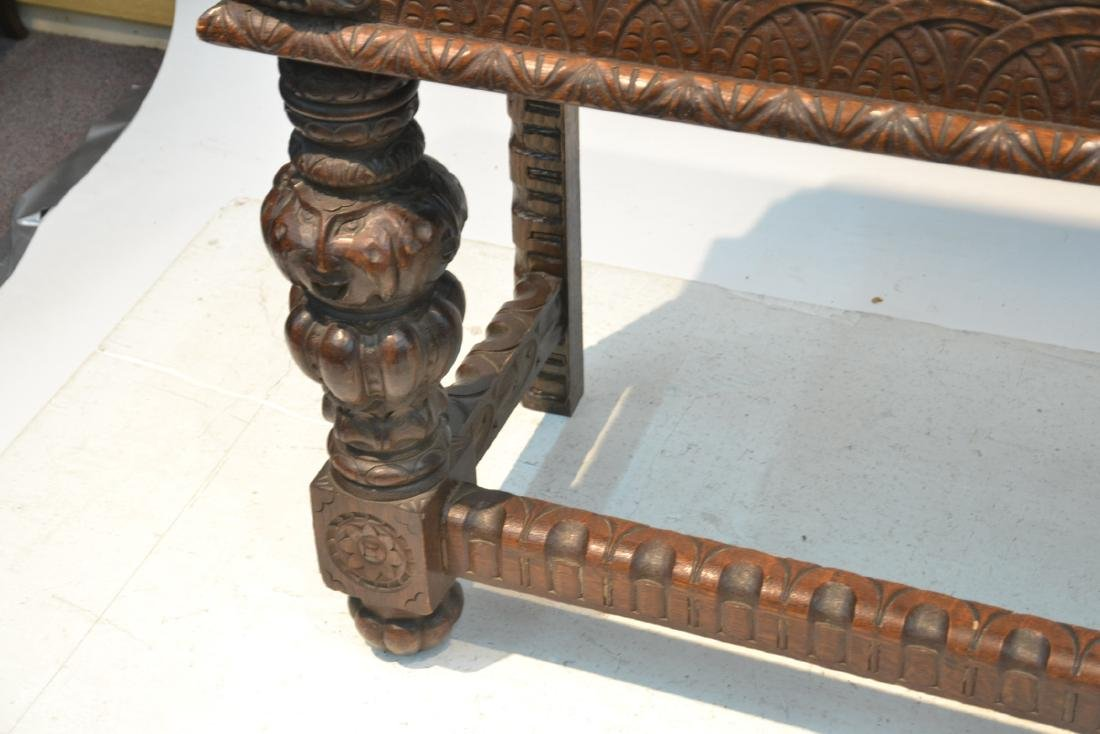 19thC HEAVILY CARVED OAK CONSOLE WITH CARVED - 7