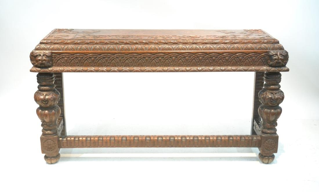 19thC HEAVILY CARVED OAK CONSOLE WITH CARVED