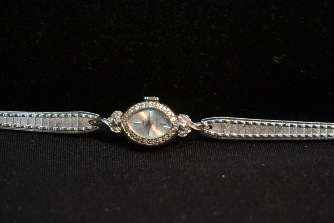 14kt WHITE GOLD & DIAMOND JULES JURGENSEN WATCH - 2