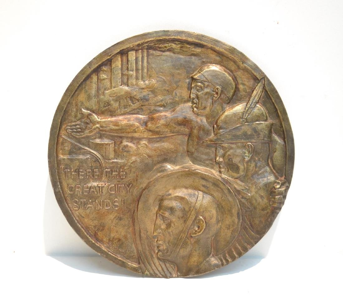 ROUND BRONZE RELEIF PLAQUE OF 3 MALE FIGURES