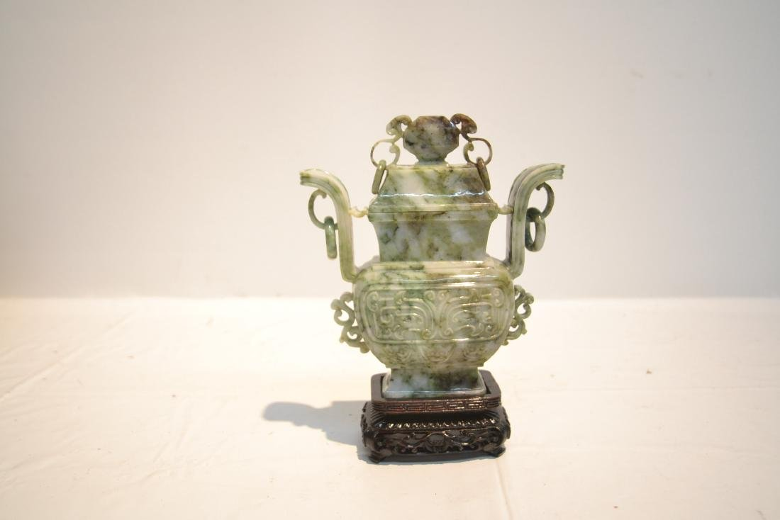 COVERED JADE VASE WITH RING HANDLES - 5