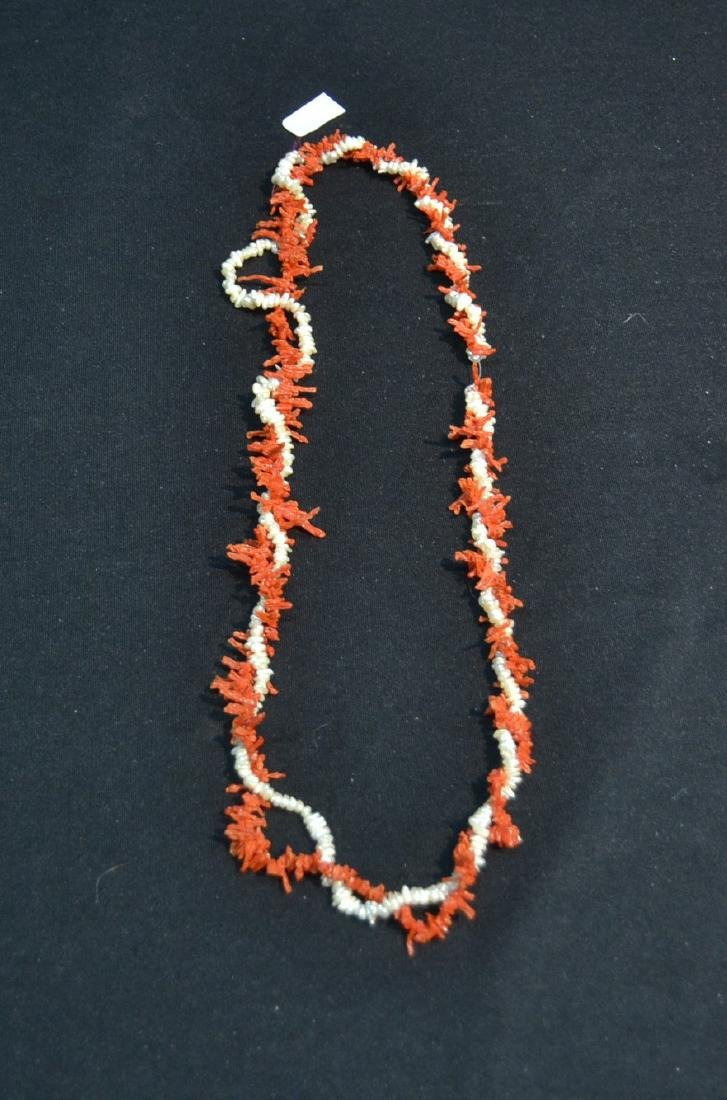 """28"""" CORAL & MOTHER OF PEARL BEADS"""