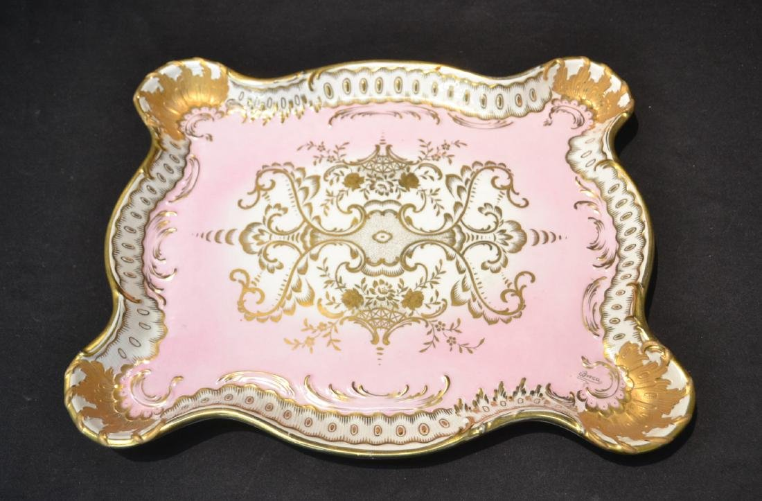 LARGE HAND PAINTED PORCELAIN TRAY WITH