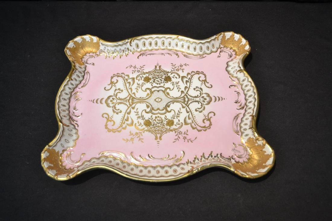 LARGE HAND PAINTED PORCELAIN TRAY WITH - 2