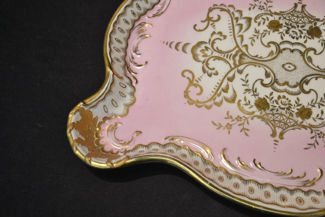 LARGE HAND PAINTED PORCELAIN TRAY WITH - 5
