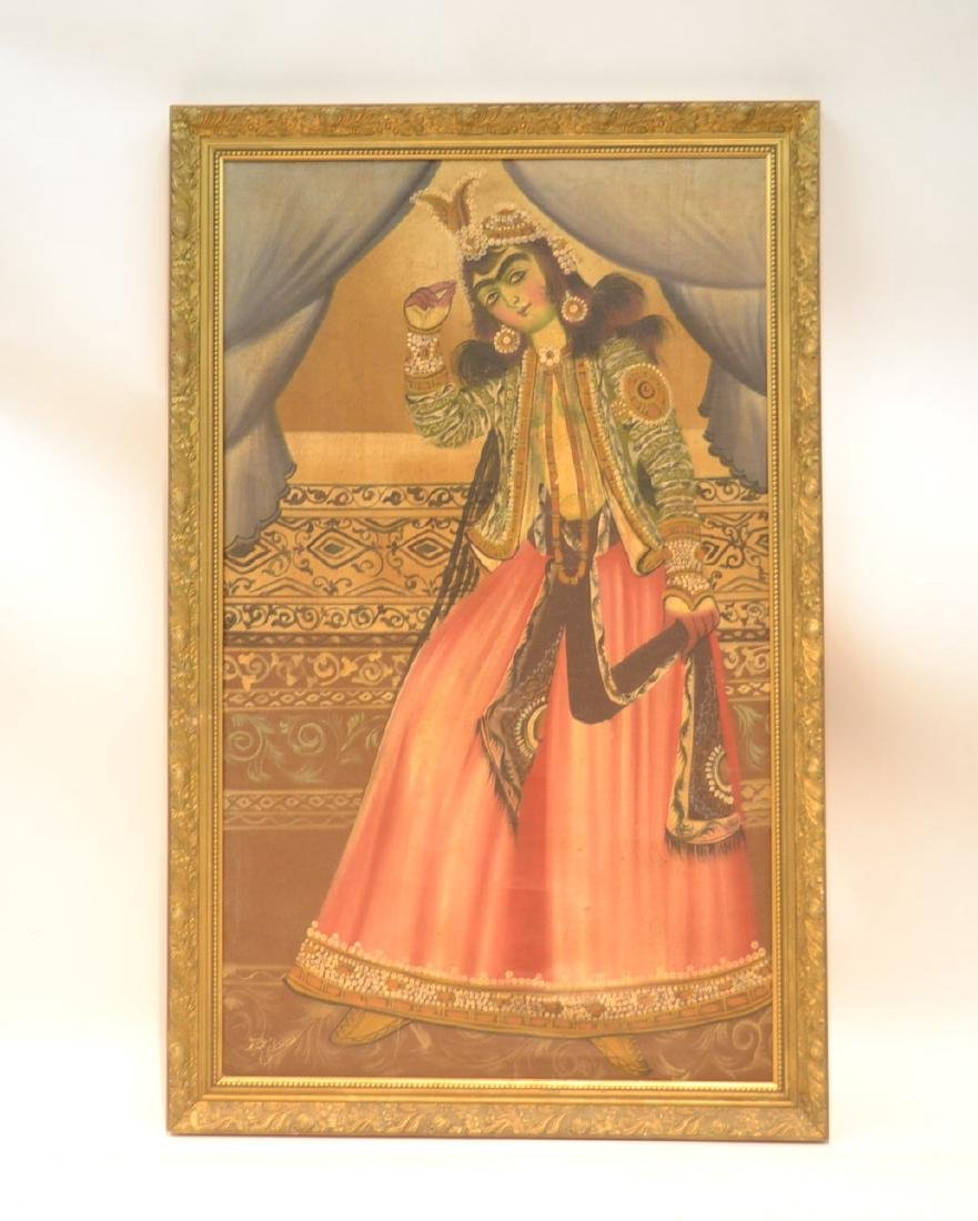 LARGE OIL ON CLOTH OF PERSIAN FIGURES