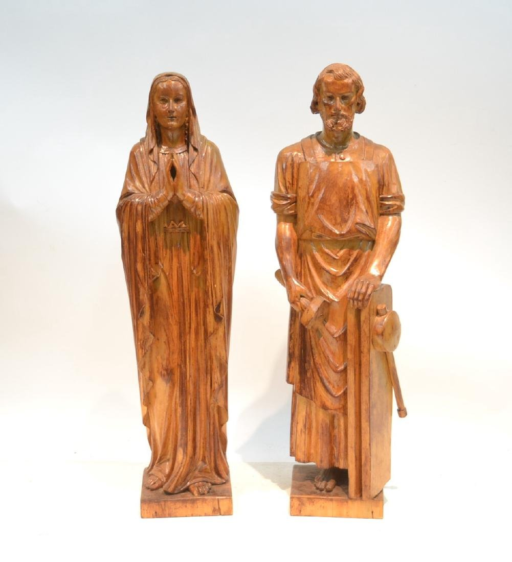 (2) CARVED WOOD FIGURES OF MARY & JOSEPH