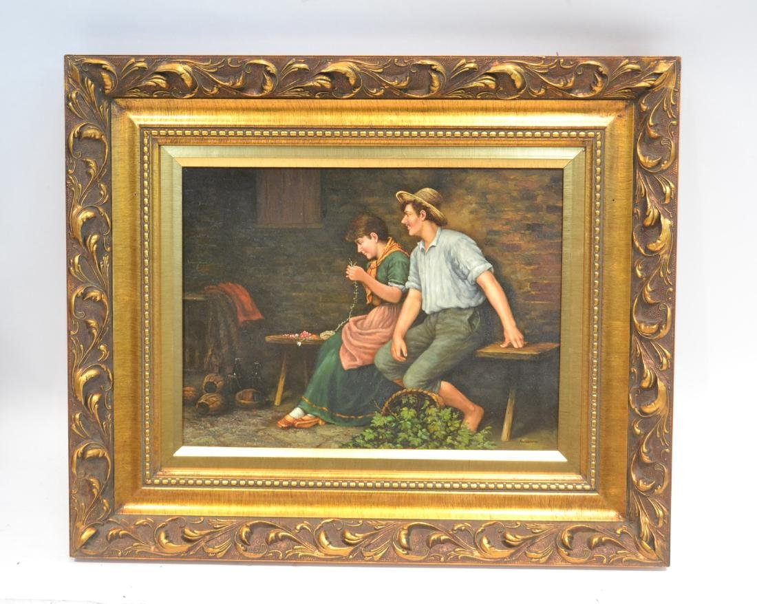 OIL ON PANEL OF SEATED MAN & WOMAN SIGNED