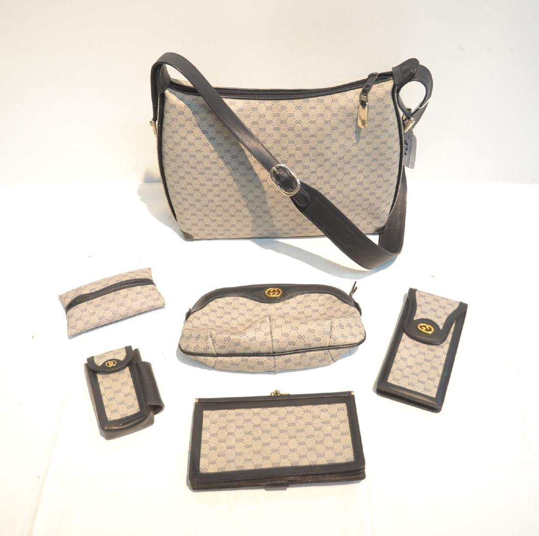 "GUCCI BAG WITH (5) ACCESSORY CASES - 12"" x 10"""