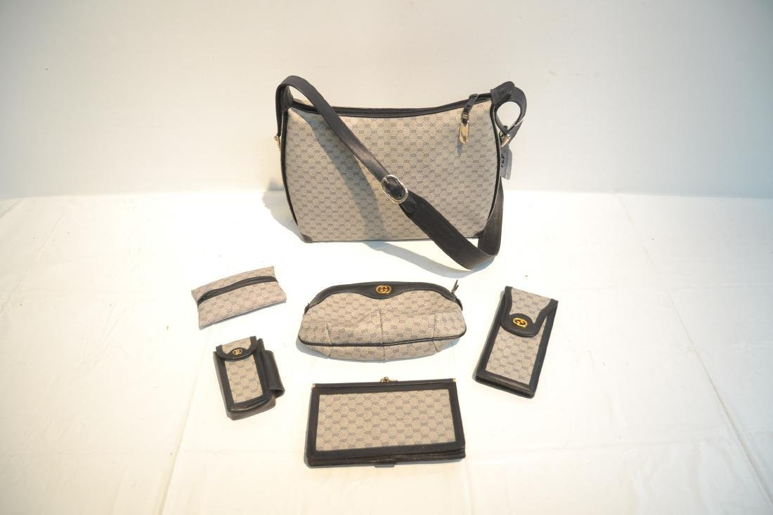 "GUCCI BAG WITH (5) ACCESSORY CASES - 12"" x 10"" - 2"