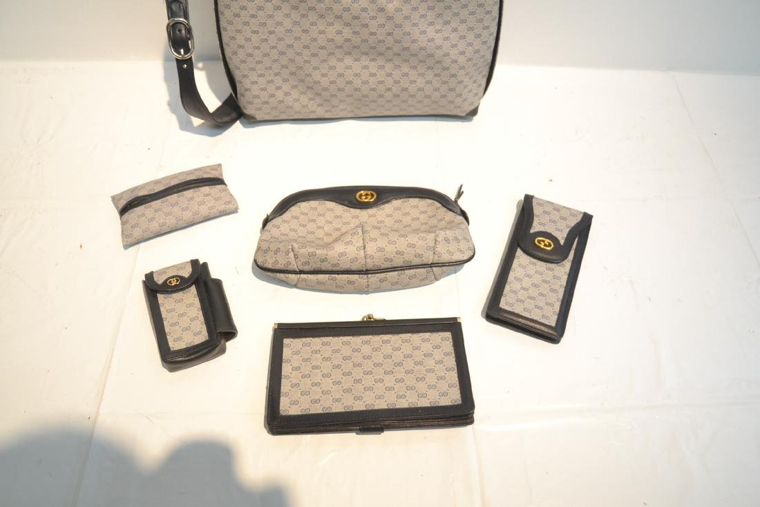 "GUCCI BAG WITH (5) ACCESSORY CASES - 12"" x 10"" - 7"