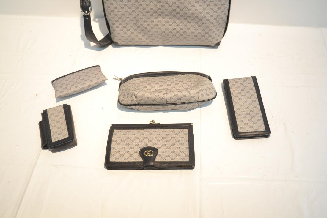 "GUCCI BAG WITH (5) ACCESSORY CASES - 12"" x 10"" - 8"