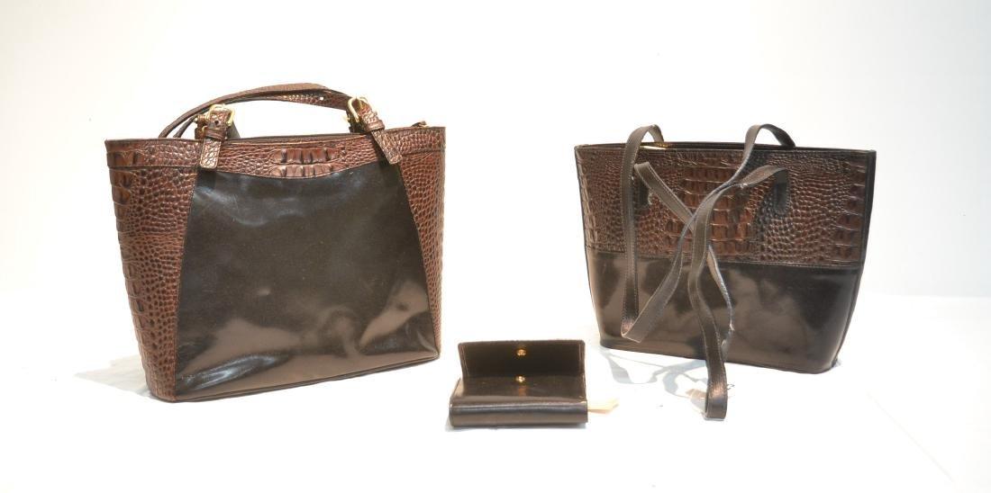 (2) BRAHAM LEATHER & BLACK TUSCAN BAGS & WALLET