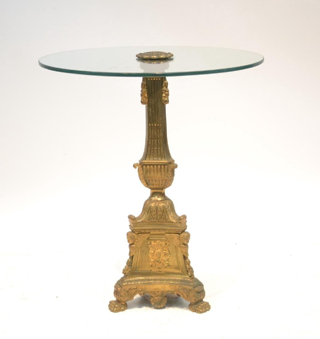 BRONZE & GLASS TOP END TABLE WITH
