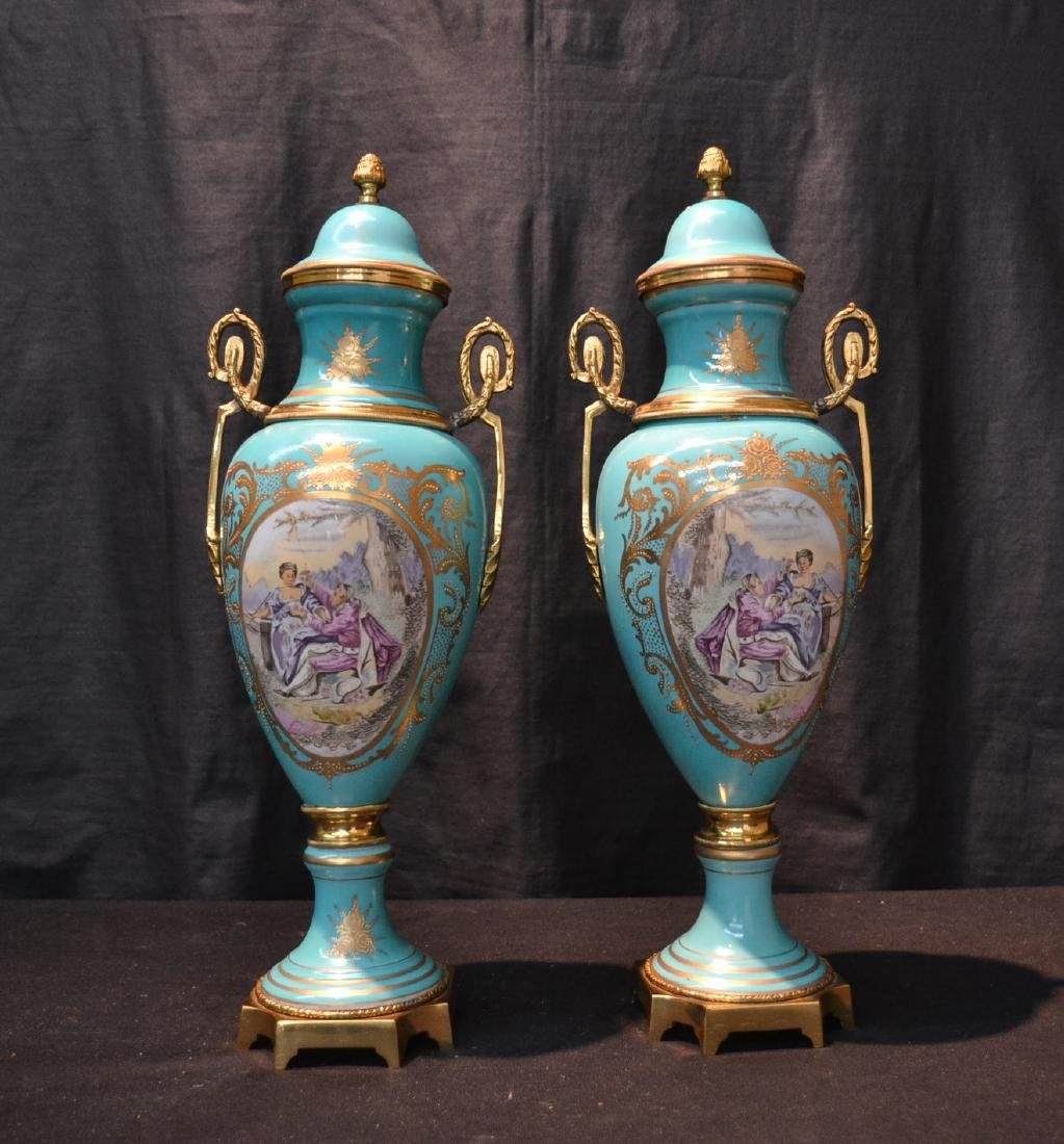 (Pr) SEVRES STYLE COVERED URNS WITH FIGURAL