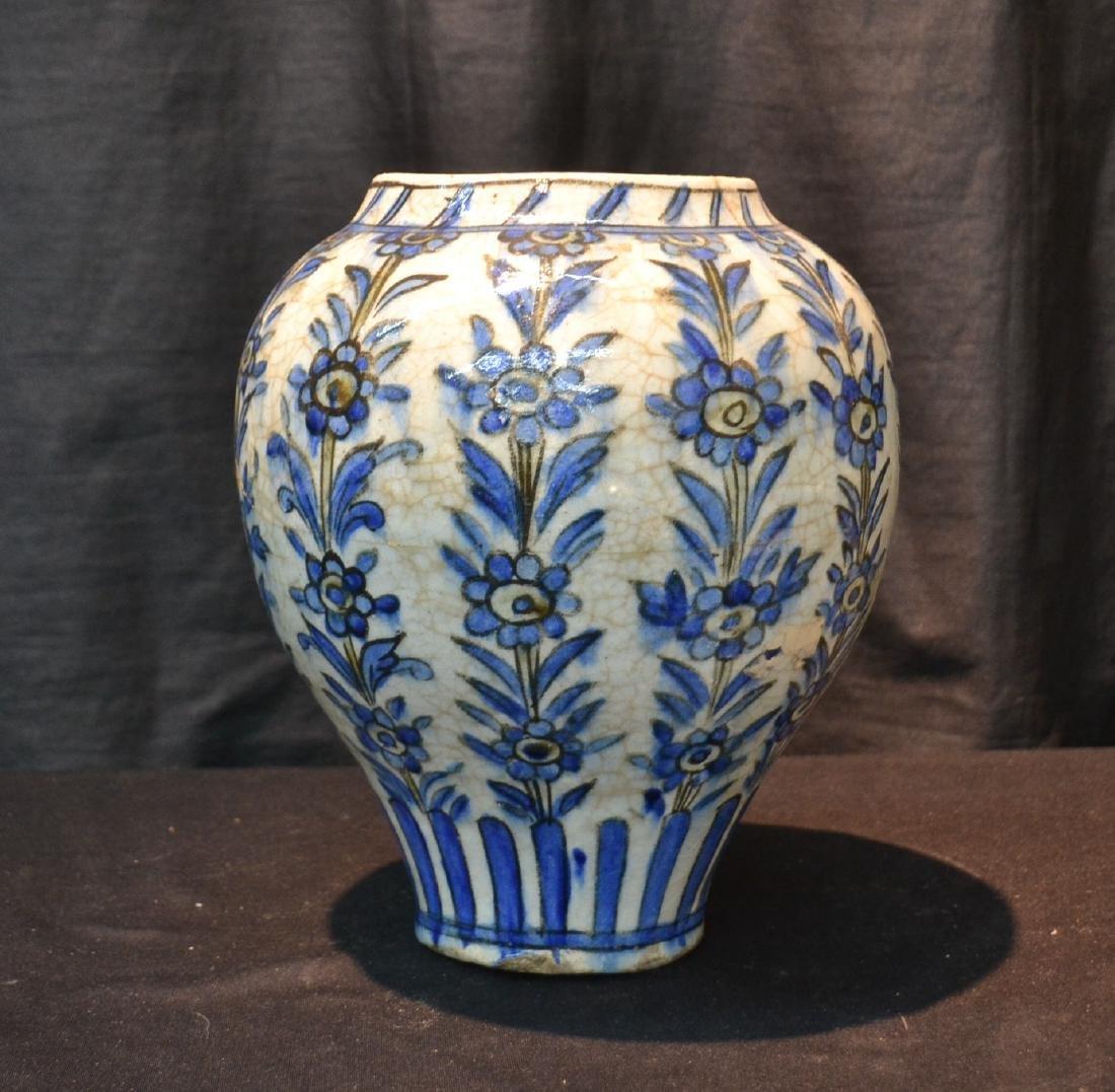 "PERSIAN BLUE & WHITE VASE - 8"" x 11"""
