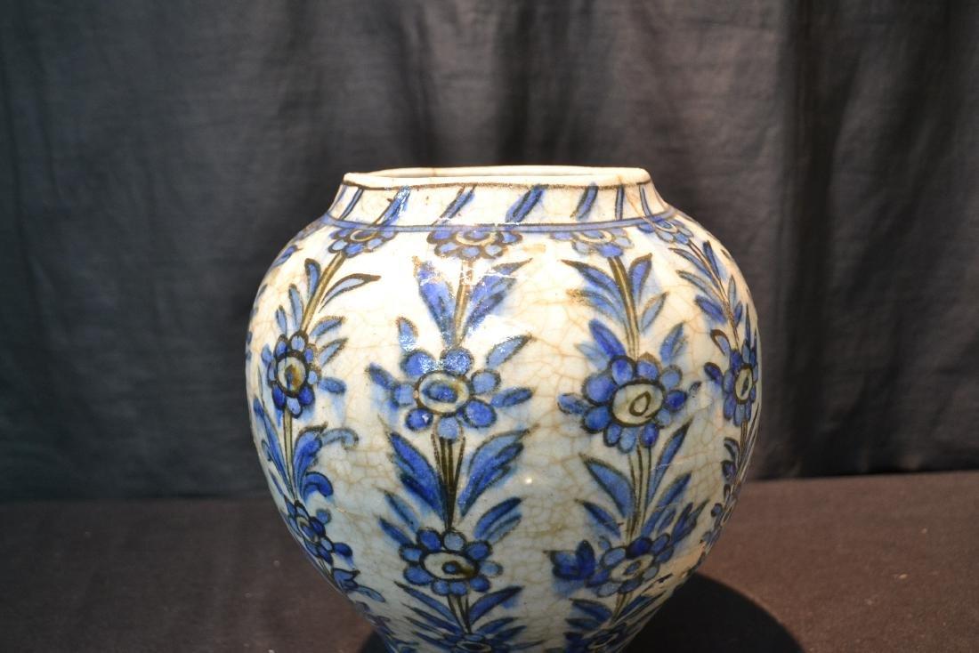 "PERSIAN BLUE & WHITE VASE - 8"" x 11"" - 2"