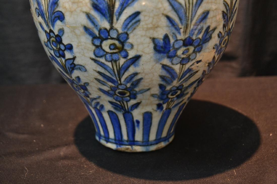 "PERSIAN BLUE & WHITE VASE - 8"" x 11"" - 3"
