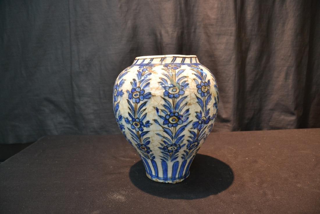 "PERSIAN BLUE & WHITE VASE - 8"" x 11"" - 5"