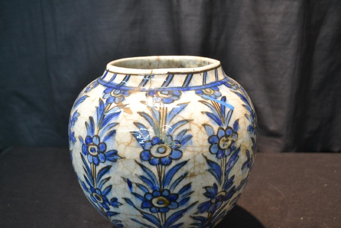 "PERSIAN BLUE & WHITE VASE - 8"" x 11"" - 6"