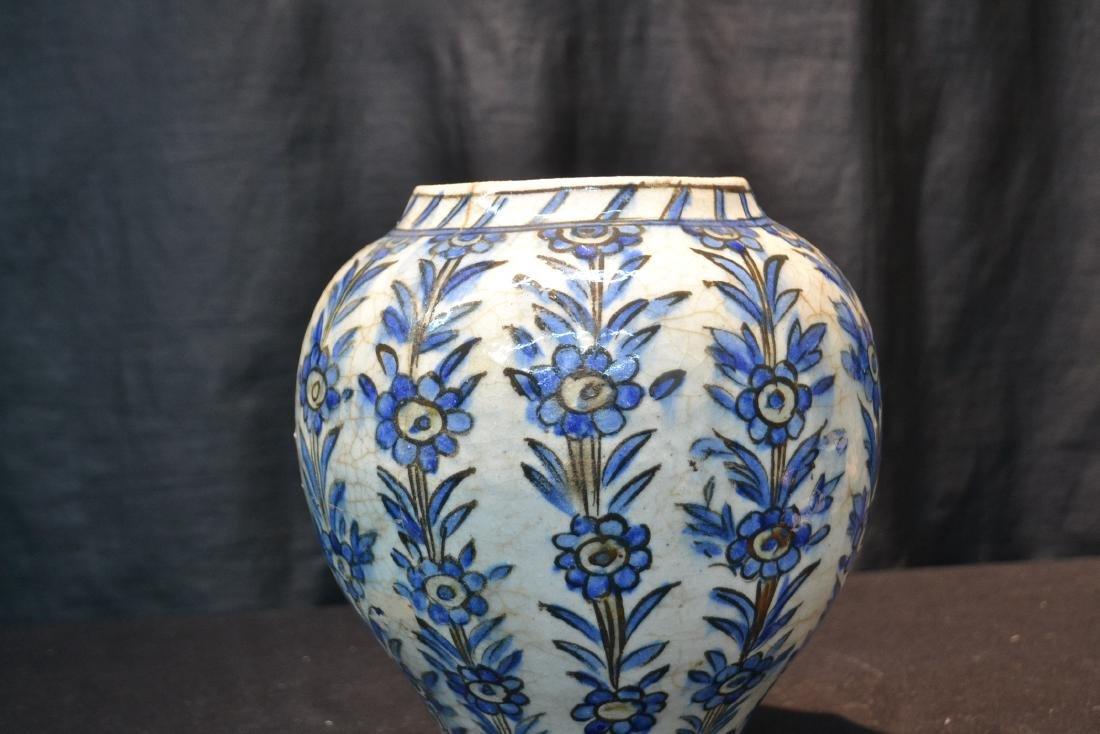 "PERSIAN BLUE & WHITE VASE - 8"" x 11"" - 7"