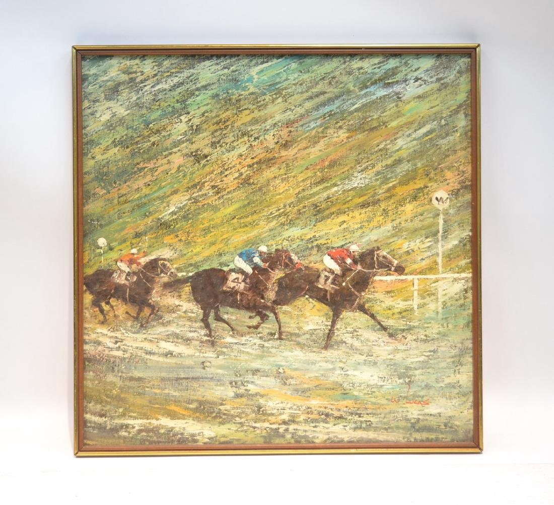 LARGE OIL ON CANVAS OF HORSE RACE SIGNED
