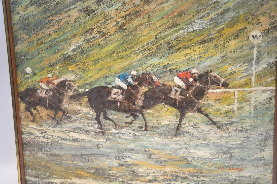 LARGE OIL ON CANVAS OF HORSE RACE SIGNED - 2